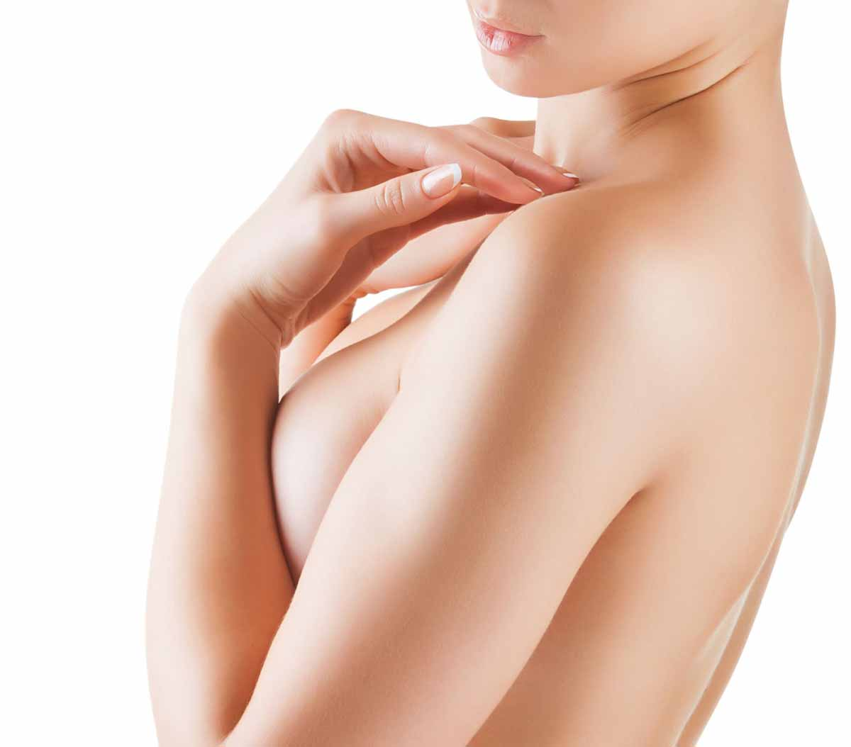 Image of model depicting plastic surgery breast procedures.