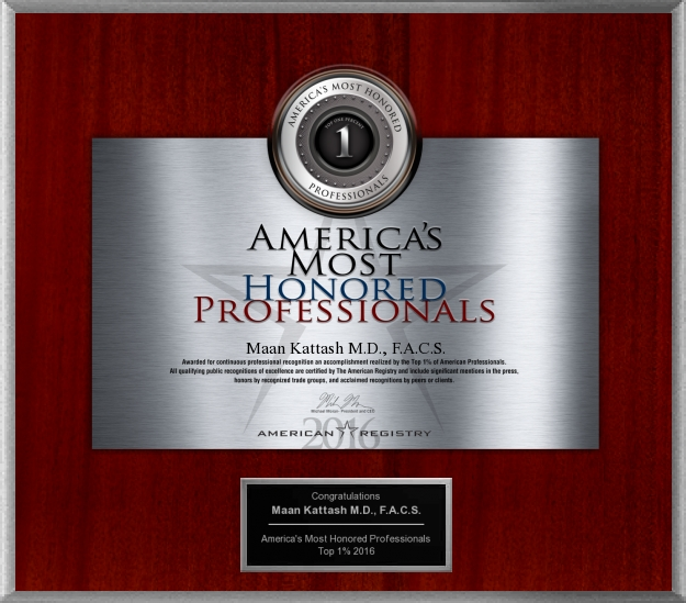 AMERICA'S MOST HONORED PROFESSIONALS AWARD: Awarded to Dr. Maan Kattash, M.D., Plastic Surgeon