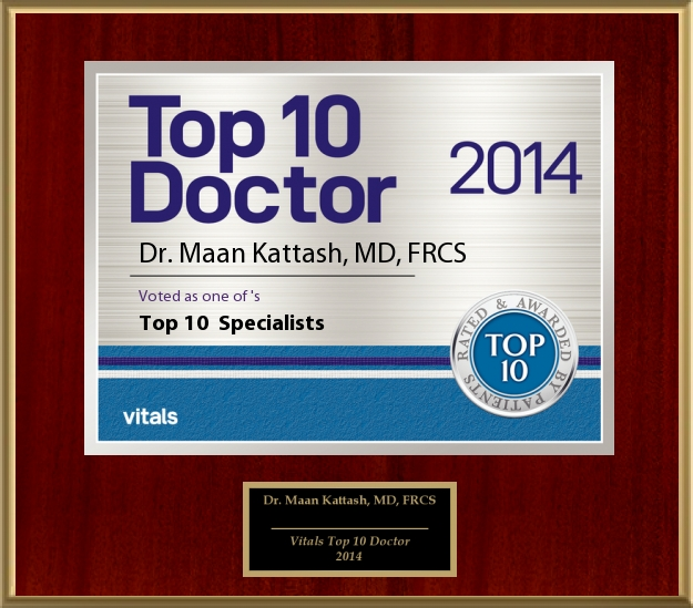 TOP 10 DOCTOR 2014: Awarded to Dr. Maan Kattash, M.D., Plastic Surgeon